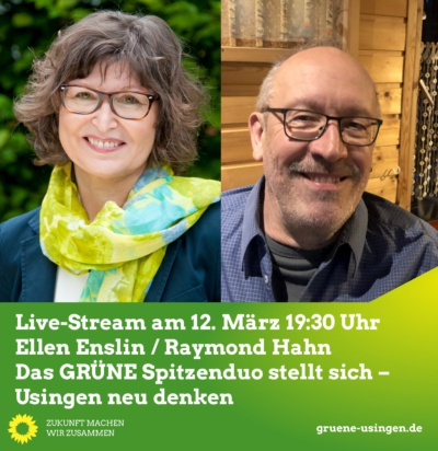 Live-Stream: Das Grünes Spitzenduo stellt sich – Usingen neu denken! @ Online, ein direkter Link befindet sich unten, unter dem Text zur Veranstaltung!