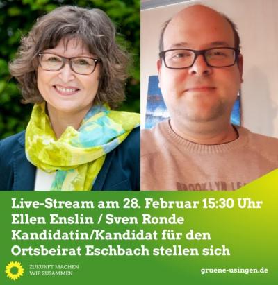 Live-Stream: Der Kandidat für den Ortsbeirat Eschbach stellt sich @ Online, ein direkter Link befindet sich unten, unter dem Text zur Veranstaltung!